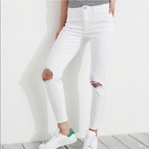 Hollister High Rise Super Skinny Crop White Jeans